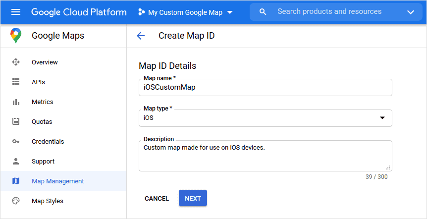 Create Map ID