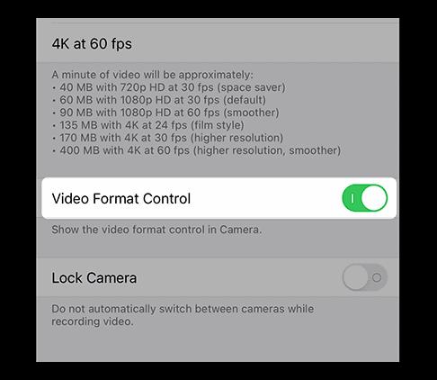 Video Format Controls