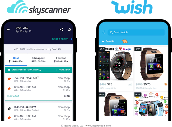 Skyscanner offer an instant app for booking plane tickets through their metasearch engine. Wish provides shopping.