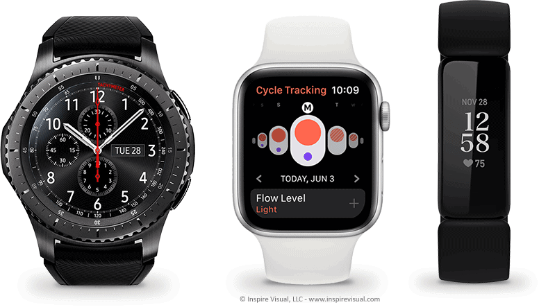 Smartwatch manufactures include Apple, Samsung and Fitbit.