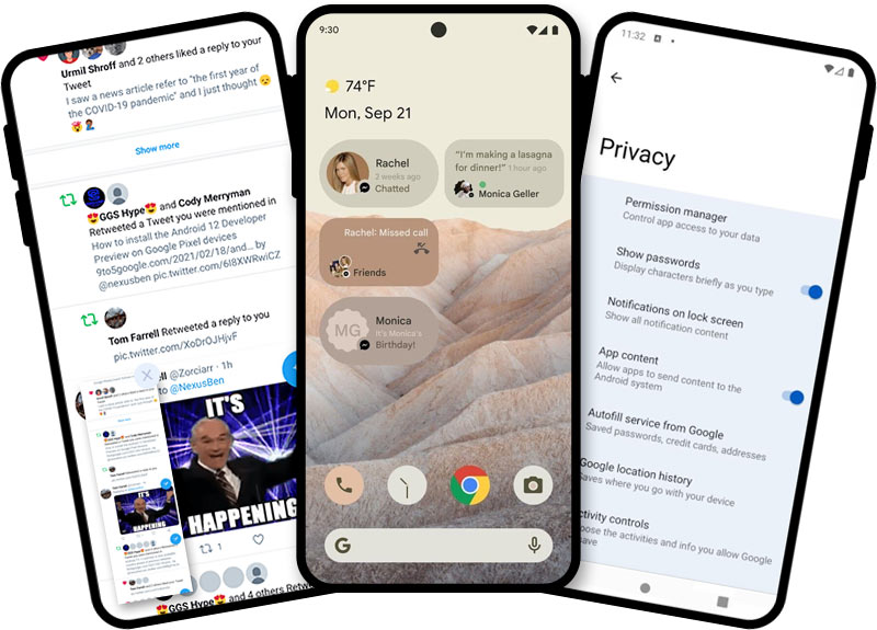The new material next design for Android 12 with a complete UI overhaul