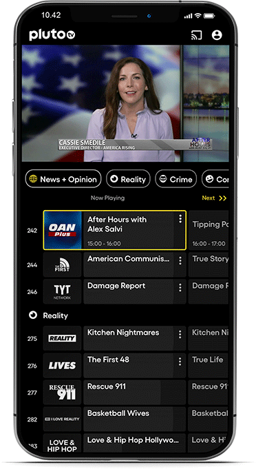 Pluto TV is an entertainment app with a wide range of tv-shows and movies.