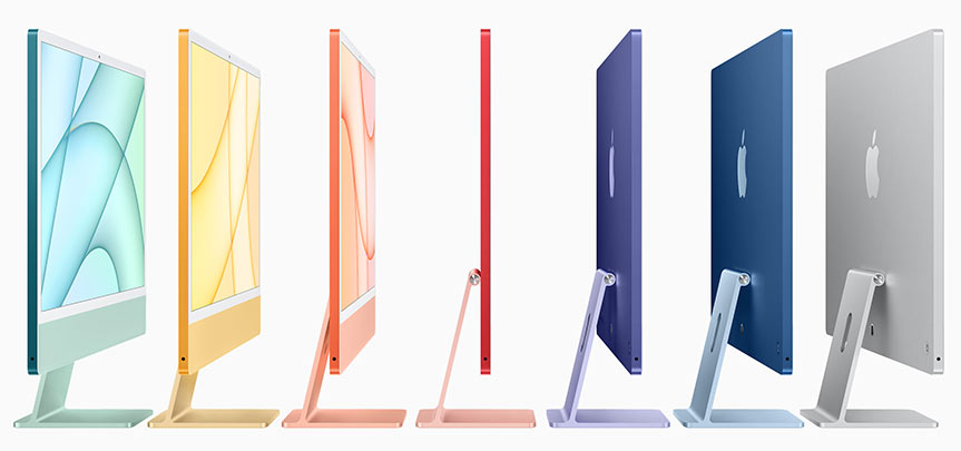 The new iMac in a variety of configurations and colors.