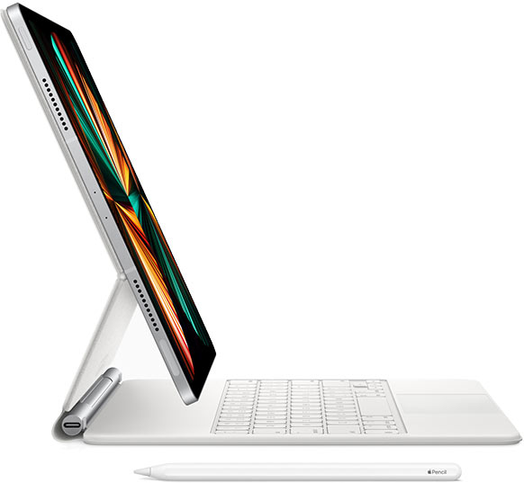 The new iPad Pro 2021 with keyboard stand.