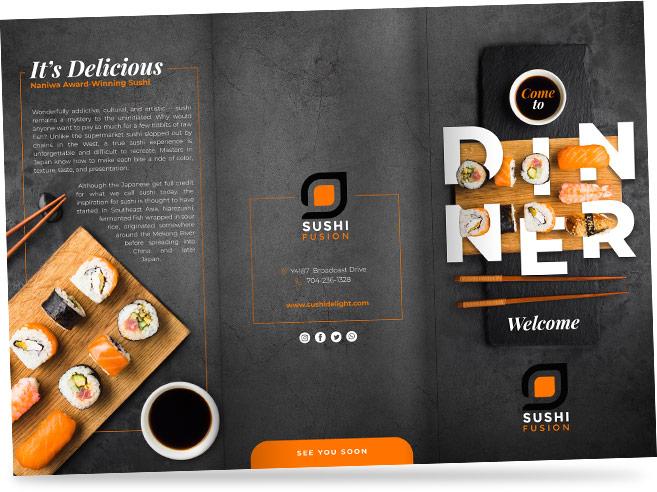 Restaurant menu for sushi restaurant.