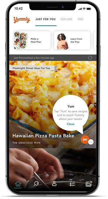 The Yummly app is a great recipe tool for the kitchen.